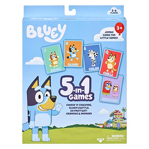 Bluey 5-in-1 Card Game Set - Includes 53 Jumbo Cards, Multicolor (13032)