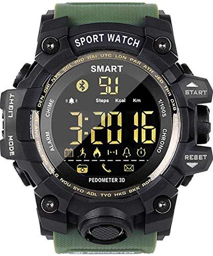 Topsale-ycld EX16 Time Owner Reloj Bluetooth Reloj Inteligente Notificación Control Remoto Podómetro Reloj Deportivo IP67 Reloj Impermeable para Hombres (Color : Green)