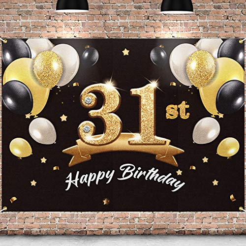 PAKBOOM Happy 31st Birthday Banner Backdrop - 31 Birthday Party Decorations Supplies for Men - Black Gold 4 x 6ft