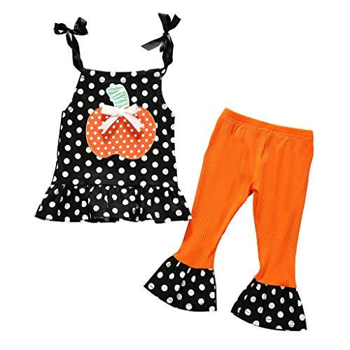 foreverH FORH Halloween Kinder Kleidung Mädchen Dot Kleid Tops+Kürbis Hosen Halloween Kleidung Set Kleinkind Bekleidungsset