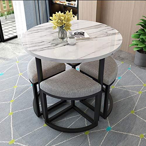 SYLOZ Mesa de Comedor de mármol de Lujo Ligero y combinación de sillas Modernas Modernas de Mesa y Mesa de Comedor y Mesa de Comedor pequeño, Adecuado para salón, Sala de Estar, Oficina D