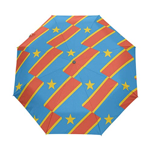 Kongo Kinshasa Flagge LSF 50+ Anti-UV Sonnenschirm, wasserdicht, Winddicht, 3 Falten, automatisches Öffnen & Schließen