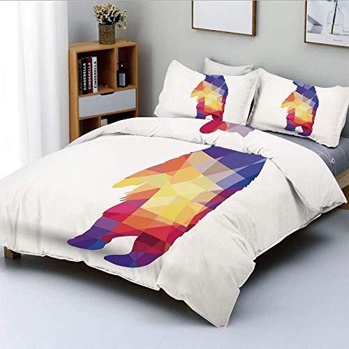 Juego de funda nórdica, silueta de oso salvaje con formas geométricas de fractales, inspirado en origami colorido Juego de cama decorativo de 3 piezas con 2 fundas de almohada, multicolor, el mejor re