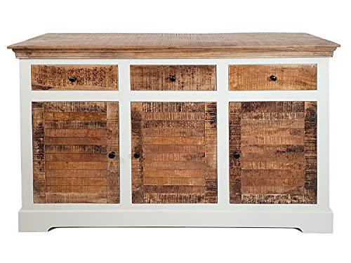 casamia Dynamic24 Ibiza - Aparador (madera maciza de mango, 140 x 90 cm), color blanco