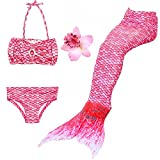 DAXIANG 3 Pièces Maillot de Bain Princesse Queue de Sirène Mermaid Bikini(Il y a la Boucle au Bas de la Queue,Pouvez Ouvrir pour...