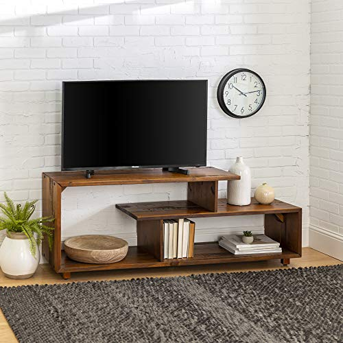 Walker Edison Rustic Asymmetrical Wood Universal Entertainment Center | Amber Brown