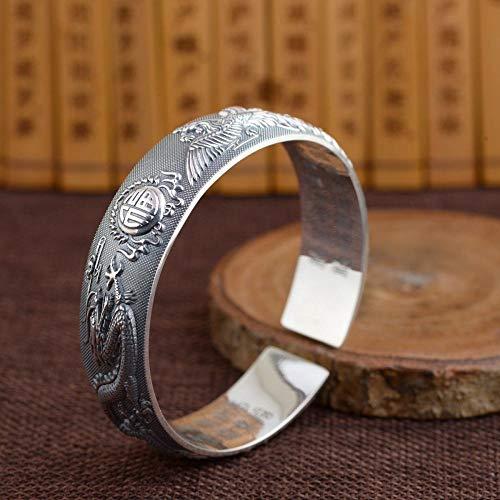 Zilveren armband voor dames, 925 sterling zilver, zilver, zilver, retro, handwerk, armband met de tekst