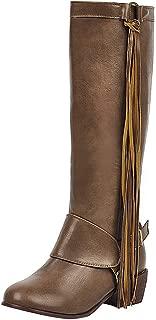 RAZAMAZA Women Vintage Low Heels Knee High Boots Round Toe