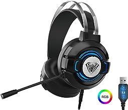 سماعات رأس محيطية مخصصة للألعاب بتقنية الصوت الواقعى بميكروفون مدمج مضيئة اى جى بى متعدد للكمبيوتر و اللاب توب من اولا