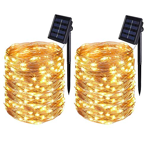 [2 Pack] BOLWEO Solar Lights Outdoor Garden,Solar String Lights,22 Meters/ 72Ft 200LEDS / 8 Modes,Waterproof Copper Wire Lighting for Indoor,Outdoor,Wedding,Patio,Home,Garden Decoration (Warm White)