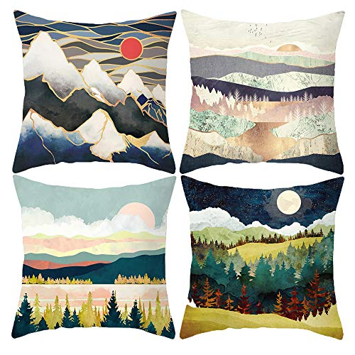 HOSTECCO Mountain Pillow Covers Set of 4 Watercolor Pillow Cases Sunset Landscape Square Cushion Covers 18x18 inches