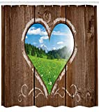 Nebengebäude Duschvorhang Herz Fensteransicht aus Holz rustikale Scheune Schuppen mit Kreide Art Image Stoff Badezimmer Dekor Set mite braun blau & grün