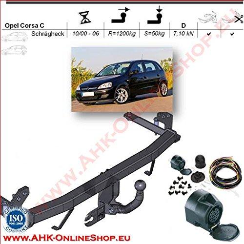 AHK Anhängerkupplung mit Elektrosatz 13 polig für Opel Corsa C 2000-2006 Schrägheck Anhängevorrichtung Hängevorrichtung - starr, mit angeschraubtem Kugelkopf