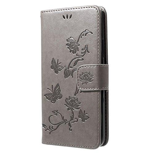 jbTec Handy Hülle Hülle Schmetterling passend für Motorola Moto G5s - Handyhülle Schutzhülle Phone Cover Tasche Handytasche Zubehör Smartphone, Farbe:Grau