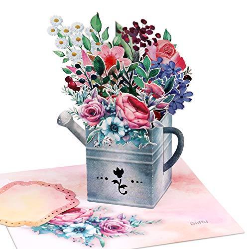 Giiffu 3D Pop-Up Karte Gießkanne und Blumen- Valentinstag, Muttertag, Geburtstag, Hochzeitstag, danke, handgemachte 3D Blumenstrauß Popup-Karte für alle Gelegenheiten