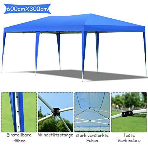 COSTWAY Gartenpavillon Partyzelt, Faltpavillon Bierzelt UV-Schutz, Gartenzelt faltbar, Faltzelt 3x6m, Pavillon inkl. Tragetasche (blau)