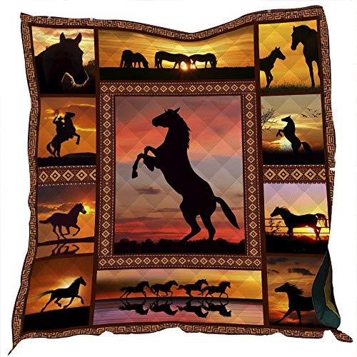 Stillshine. Gesteppt Tagesdecke Dünne Decke Home Klimaanlage Quilt 3D Tier Pferd Katze Muster Multifunktionale Picknick Camping Decke Vier Jahreszeiten Kind Erwachsener (Farbe 1,178×203cm)