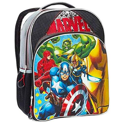 Marvel Avengers Backpack for Boys Kids, 16 Inch, Blue/Black (Avengers School Supplies)