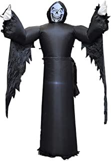 Charming House 7 Foot Halloween Haunters Giant Inflatable Haunted Black Ghost Reaper LET Lights Decor Blow Up Towering Decoration