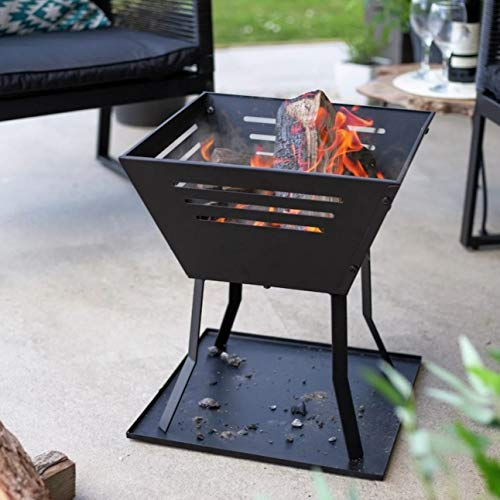 La Hacienda Modern Fire Pit - Square Basket Log Burner (Large Garden Patio Heater, Chimenea Wood Stove BBQ Chiminea)