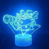 Zhuhuimin 3D-Glühbirne Teemo helle Basis Kinder besonderes Geschenk für die Raumdekoration...