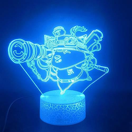 Zhuhuimin 3D-Glühbirne Teemo helle Basis Kinder besonderes Geschenk für die Raumdekoration LED-Nachtlicht