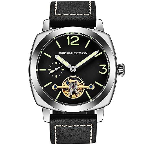 Pagani Design Herren-Automatikuhren, Tourbillon, modisch, mechanische Armbanduhren, Skelett-Zifferblatt, Analog-Digital-Zifferblatt, lässiges Lederarmband