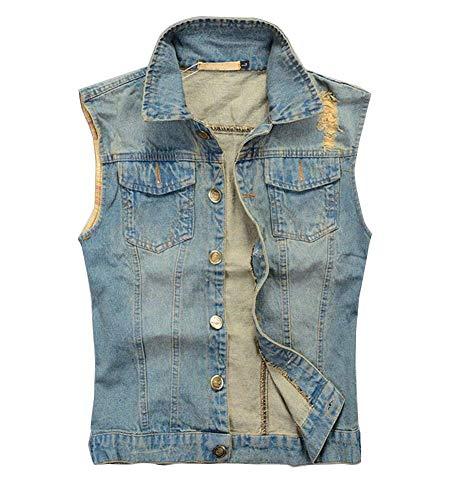 Herren Denim Weste Rmellos Fashion Jeansjacke Weste Stehenkragen Jeans Denim Vest Mode Marken Waistcoat Slim Fit Outerwear Tops (Color : Blau, Size : 2XL)