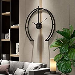 Funtabee London 50cm/20in Modern Geometric Oversized Wall Clock for Living Rooms, Black Minimalist Wall Clock, Silent Non-Ticking, Great for lounges, Kitchens, lofts, cafes, Offices, Hotels (Black)