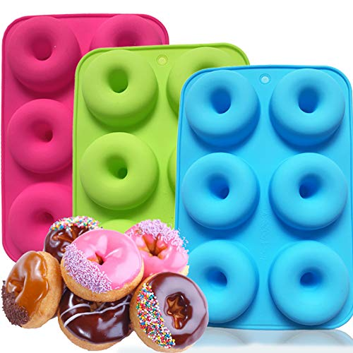 ANAEAT Silicone Donut Pan Baking Mold, Non-Stick Doughnuts Baking Pans for 6 Full-Size Donuts, Cake Biscuit Bagels - Easy Clean, BPA Free, Microwave, Oven, Dishwasher, Freezer Safe (3 Pack)