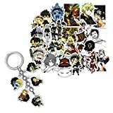 Kilmila Black Clover Anime Stickers (50Pcs with Anime A Set of Five Characters Key Ring Black Clover Keychain ) Gifts for Laptop Water Bottle Graffiti