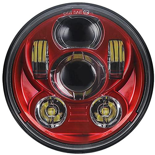 WPFC Rojo 5 3/4'5,75 Pulgadas Proyección LED Luz De Faro De La Luz LED Lámpara De Cabeza LED para Sportster Davidson Touring FX Softail