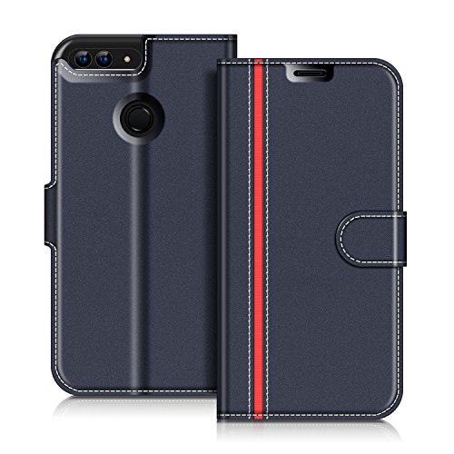 COODIO Funda Honor 9 Lite con Tapa, Funda Movil Honor 9 Lite, Funda Libro Honor 9 Lite Carcasa Magnético Funda para Honor 9 Lite/Huawei P Smart, Azul Oscuro/Rojo