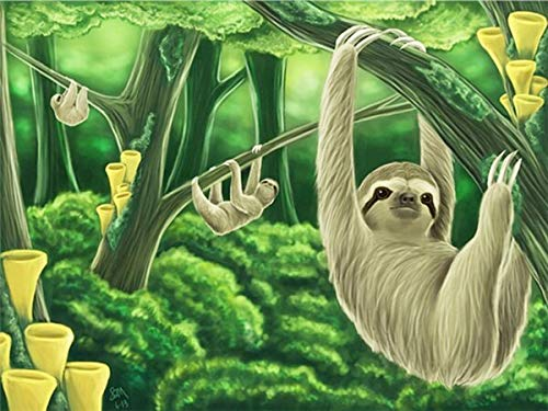 neivy Forest Animal Sloth 5D Full Drill Diamond Embroidery Painting Kit DIY Diamond Rhinestone Pasted Painting Cross Stitch Crafts for Home Wall Decor(Full Square 50x60cm)