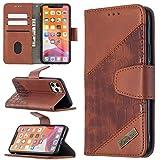 Miagon iPhone 11 Custodia Portafoglio Cover,Antiurto Coccodrillo Splicing PU Pelle con Chiusura Magnetica Tasca per Carte di Credito Funzione Cavalletto,Marrone