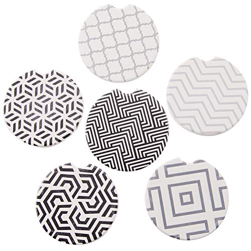 Car Absorbent Ceramic Coasters Pack of 6, Stoneware Auto Cup Holder Coasters for Drink,Car Accessories to Keep Your Car Cup Holders Clean and Dry,2.56 Diameter (Style1)