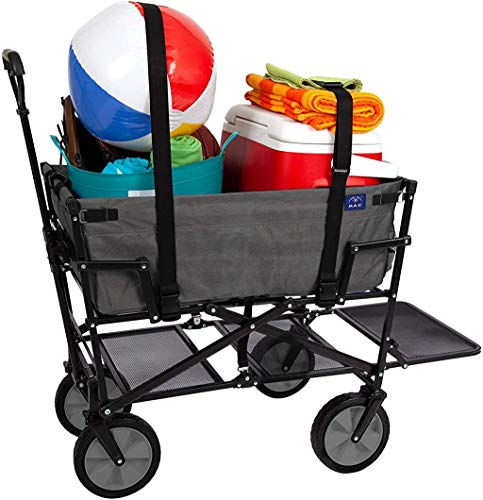 MacSports Double Decker Collapsible Outdoor Utility Wagon with Straps | Folding Pull Cart for Sports Baseball Pool Camping Fishing, Collapsable Fold up Wagon w/Wheels, Heavy Duty Steel, Two Tone Gray