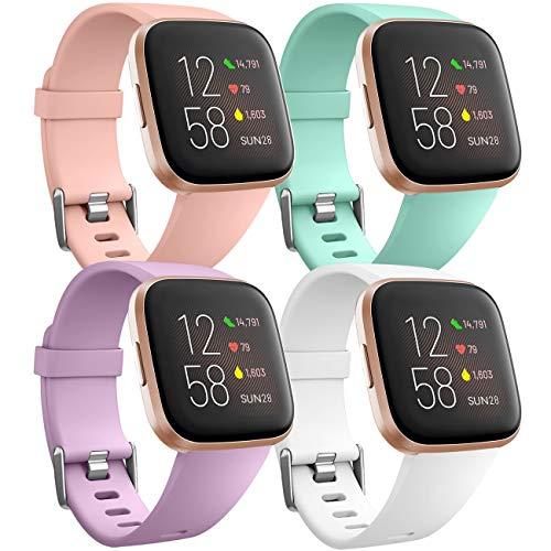 Ouwegaga Banda de Repuesto de Silicona Compatible con Fitbit Versa Correa/Fitbit Versa Lite Correa/Fitbit Versa 2 Correa, Pequeño Rosa/Aqua/Lavanda/Blanco