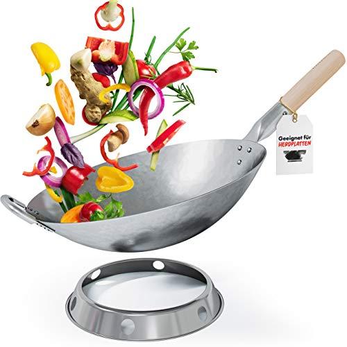 Flavemotion Wok + anneau wok pour induction, cuisinière électrique (fond plat, 36 cm) Wok martelé à la main en acier au carbone résistant aux rayures avec poignée en bois et anneau pour poser le wok