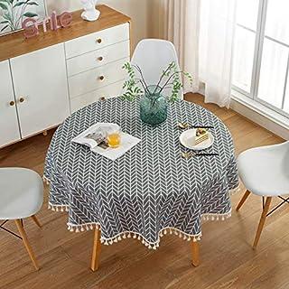 Nappe ronde HINMAY - Style nordique simple - Tissu de coton et lin - Résistante à la poussière - Nappe ronde - Pour cuisin...