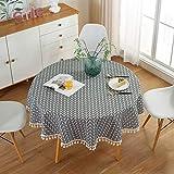 HINMAY Mantel redondo, de algodón y lino de estilo nórdico, con borla, a prueba de arrugas, redondo, cubierta de mesa para cocina, comedor, decoración de mesa, diámetro 150 cm, color gris