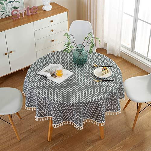 HINMAY - Tovaglia rotonda, semplice stile nordico, in cotone e lino, con nappa, rotonda, a...