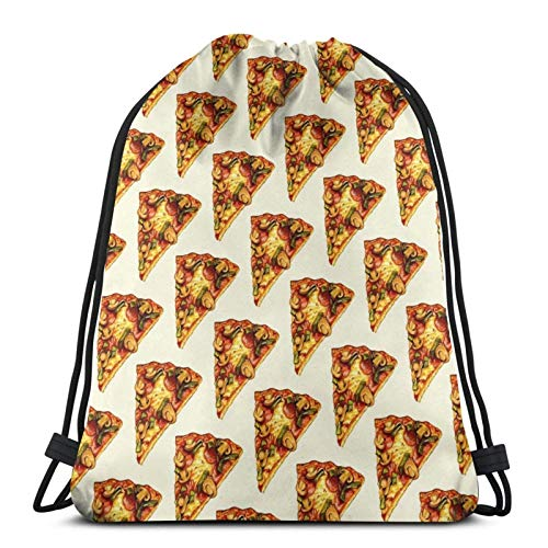 XCNGG Drawstring Bag Pizza Pattern Floor Pillow Window Decoration Training Gymsack
