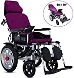WRJY Wheelchair, Transport Chair, Electric with Headrest Folding And Lightweight Portable Powerchair, adjustable