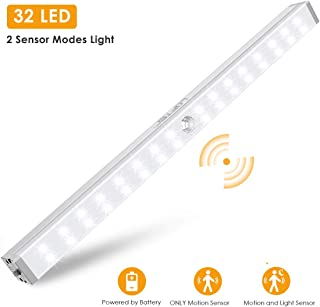 Closet Lights Battery Operated, LOFTer 32-LED Wireless Wardrobe Light with 2 Sensor Modes, Portable Motion Sensor LED Lights for Closet, Under Cabinet, Cupboard, Hallway, Kitchen Stick Night Lighting