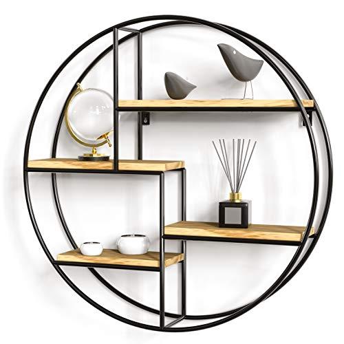 Gadgy ® WandRegal Rund l mit 4 Böden l Schweberegal l 100% natürliches Holz & geschweißtes Metall l Skandinavisch/Industrielen Stil l Ø 42 x 10 cm
