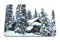 26cmx21cm マウスパッド (家の森の冬の雪) パターンカスタムの マウスパッド