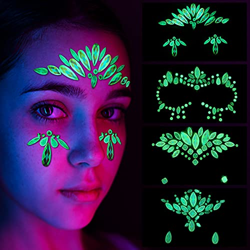 4 Sets Luminous Face Jewels Glow in the Dark Tattoo Face Gems Halloween DIY Noctilucent Body Stickers Crystals Bling Rhinestone Sticker Tears Gem Stones Makeup Night Music Club