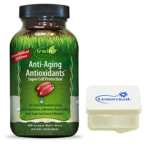 Irwin Naturals Anti Aging Antioxidants Super Cell Protection  60 SoftGels  Bundle with a Lumintrail Pill Case