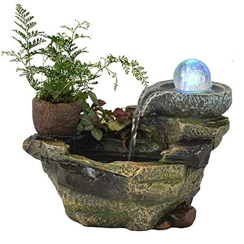 Whinop Mini Fuente Agua e Iluminación LEDDecoracion Fuentes de Agua para La Decoración del Hogar de La Oficina 14.5x17x22cm